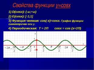 Свойства функции y=cosx 1) D(cosx): (-∞;+∞) 2) E(cosx): [-1;1] 3) Функция чет