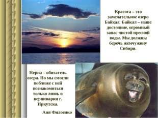 Красота – это замечательное озеро Байкал. Байкал – наше достояние, огромный