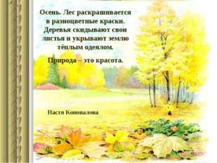 Осень. Лес раскрашивается в разноцветные краски. Деревья скидывают свои листь