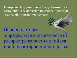 Говорить об одной птице среди множества живущих на земле как о наиболее ценно