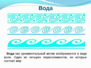 Вода Вода как орнаментальный мотив изображается в виде волн. Один из четырех