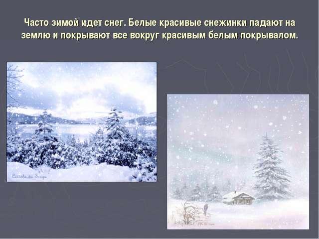 Часто зимой идет снег. Белые красивые снежинки падают на землю и покрывают вс...