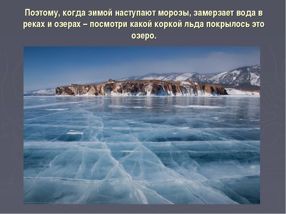 Поэтому, когда зимой наступают морозы, замерзает вода в реках и озерах – посм...