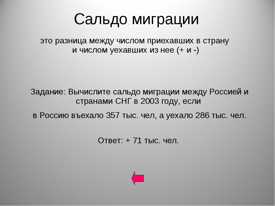Сальдо миграции Задание: Вычислите сальдо миграции между Россией и странами С...