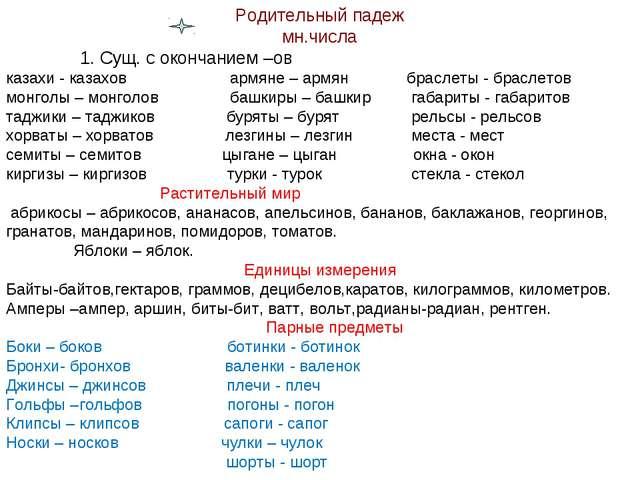 Родительный падеж мн.числа 1. Сущ. с окончанием –ов казахи - казахов армяне –...