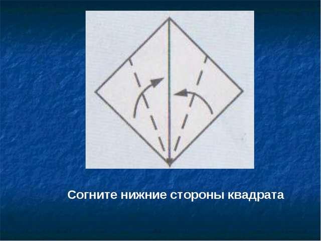 Согните нижние стороны квадрата