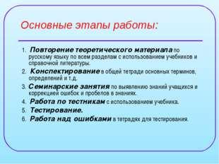 Основные этапы работы: 1. Повторение теоретического материала по русскому язы