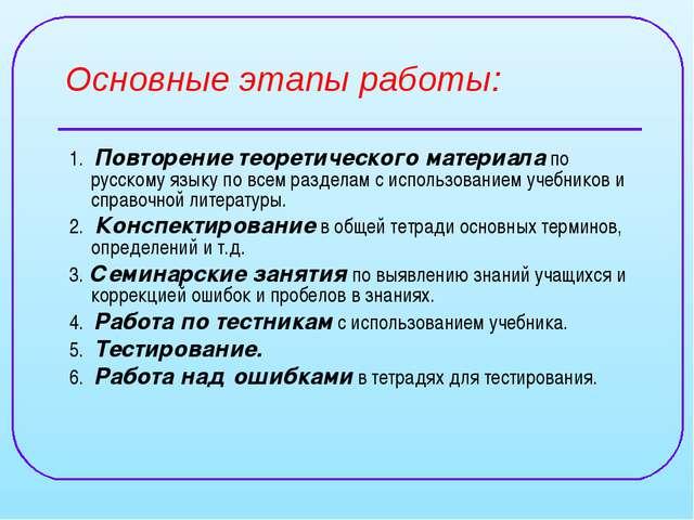 Основные этапы работы: 1. Повторение теоретического материала по русскому язы...