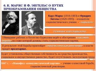 6.К.МАРКС И Ф.ЭНГЕЛЬС О ПУТЯХ ПРЕОБРАЗОВАНИЯ ОБЩЕСТВА Карл Маркс (1818-188