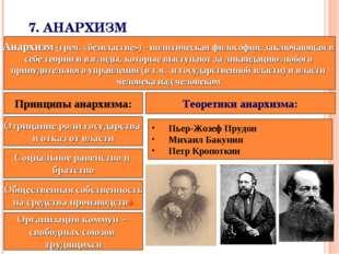 7.АНАРХИЗМ Анархизм (греч. «безвластие»)- политическая философия, заключающ
