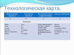 Технологическая карта. (Табл. 2) Наименование продуктаКоличество продукта П
