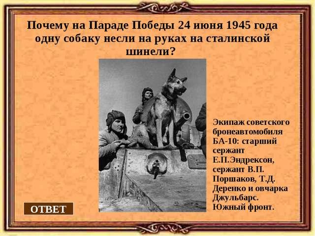 Почему на Параде Победы 24 июня 1945 года одну собаку несли на руках на стали...