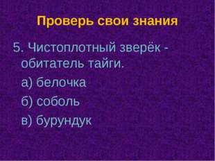 Проверь свои знания 5. Чистоплотный зверёк - обитатель тайги. а) белочка б)