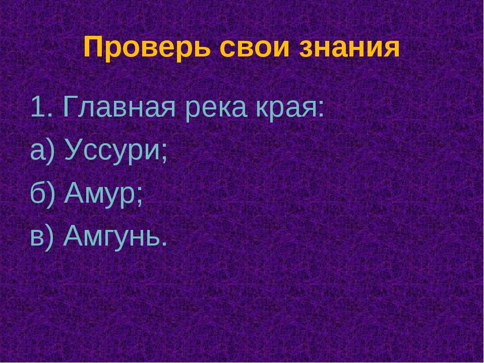 Проверь свои знания 1. Главная река края: а) Уссури; б) Амур; в) Амгунь.
