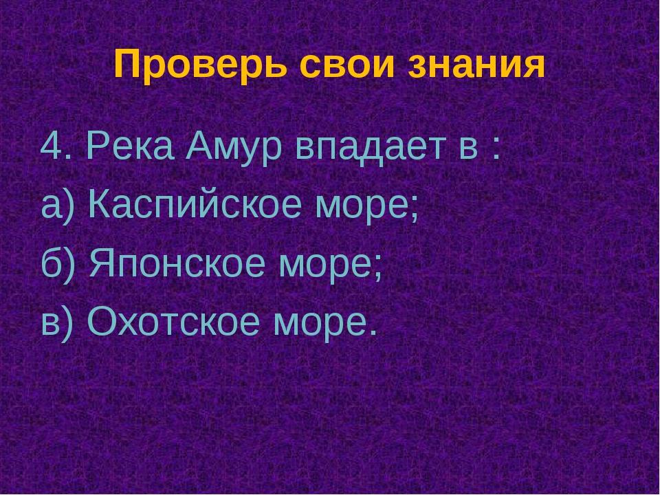 Проверь свои знания 4. Река Амур впадает в : а) Каспийское море; б) Японское...