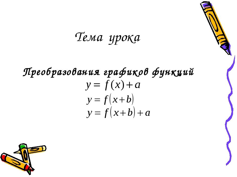 Тема урока Преобразования графиков функций