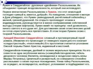 Лужин и Свидригайлов –духовные «двойники» Раскольникова. Их объединяет принци