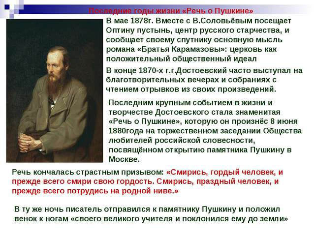 Последние годы жизни «Речь о Пушкине» В мае 1878г. Вместе с В.Соловьёвым посе...