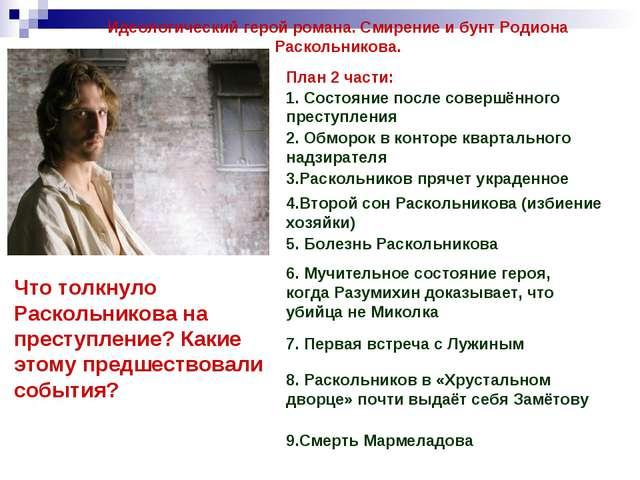 Идеологический герой романа. Смирение и бунт Родиона Раскольникова. План 2 ча...