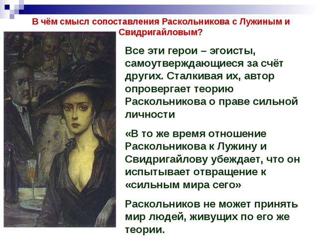 В чём смысл сопоставления Раскольникова с Лужиным и Свидригайловым? Все эти г...