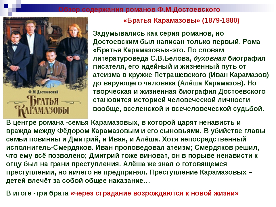 Обзор содержания романов Ф.М.Достоевского «Братья Карамазовы» (1879-1880) Зад...