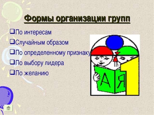 Формы организации групп По интересам Случайным образом По определенному призн...