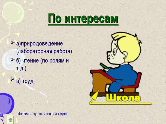 По интересам а)природоведение (лабораторная работа) б) чтение (по ролям и т.д...