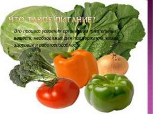 Это процесс усвоения организмом питательных веществ, необходимых для поддержа