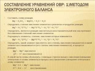 Составить схему реакции. Mg + H2SO4 → MgSO4 + H2S + Н2О Определить степени ок