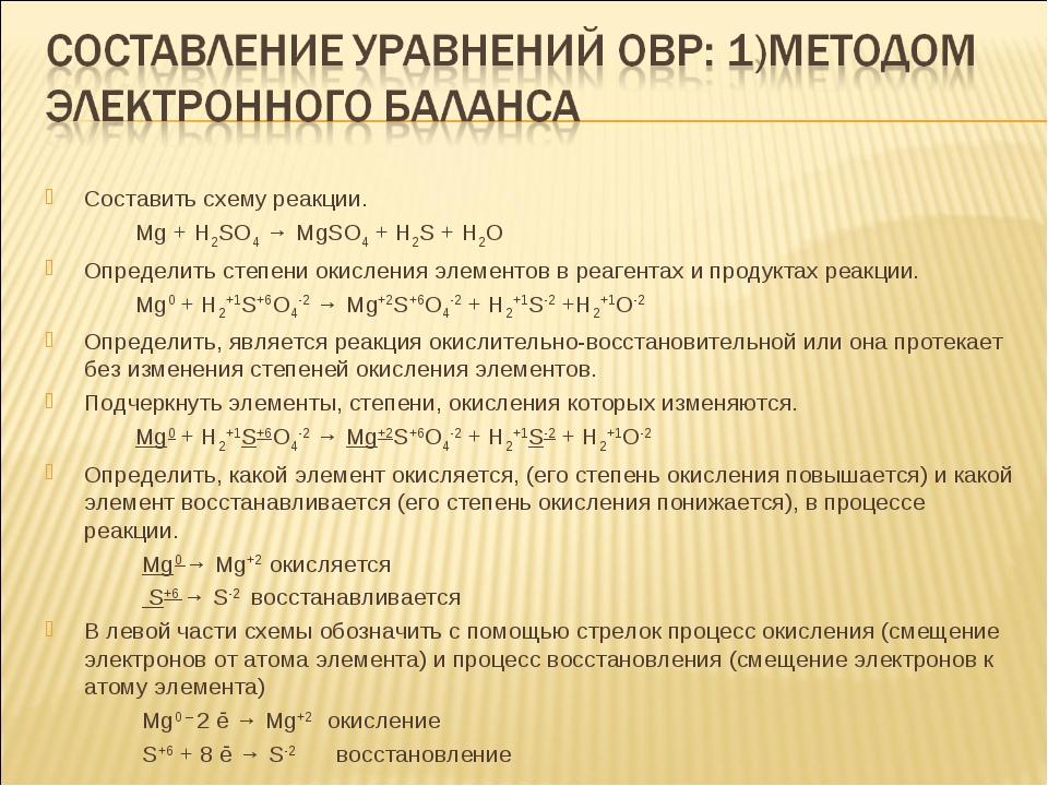 Составить схему реакции. Mg + H2SO4 → MgSO4 + H2S + Н2О Определить степени ок...