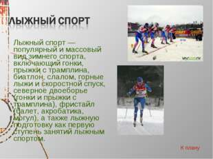 Лыжный спорт — популярный и массовый вид зимнего спорта, включающий гонки, п