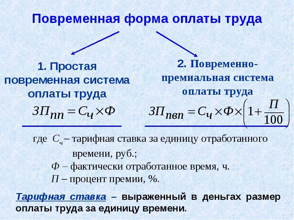 1. Простая повременная система оплаты труда где Сч – тарифная ставка за едини...