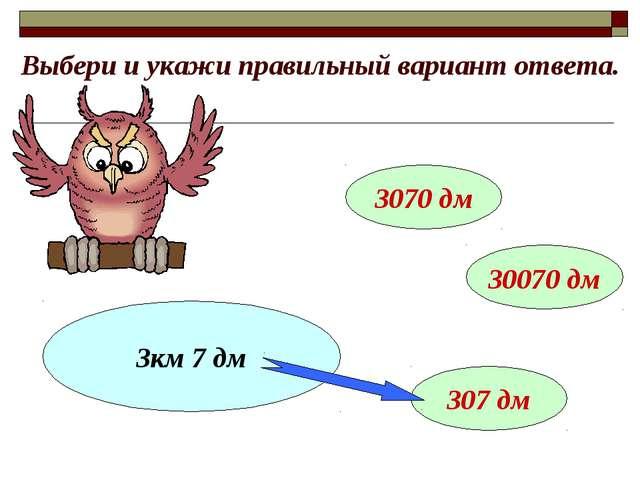 Выбери и укажи правильный вариант ответа. 3км 7 дм 3070 дм 30070 дм 307 дм