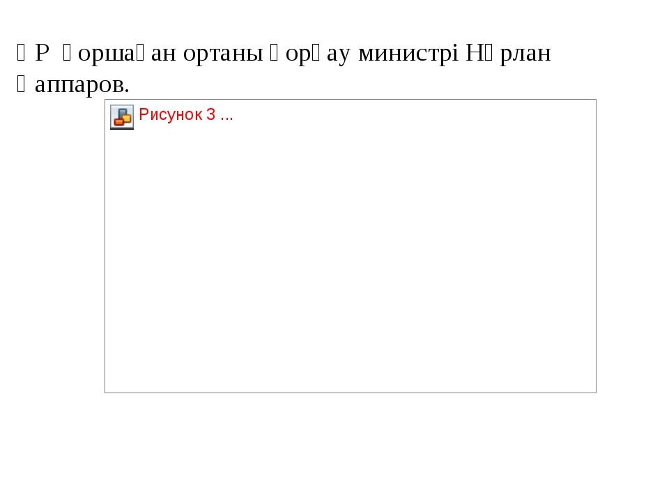 ҚР қоршаған ортаны қорғау министрі Нұрлан Қаппаров.