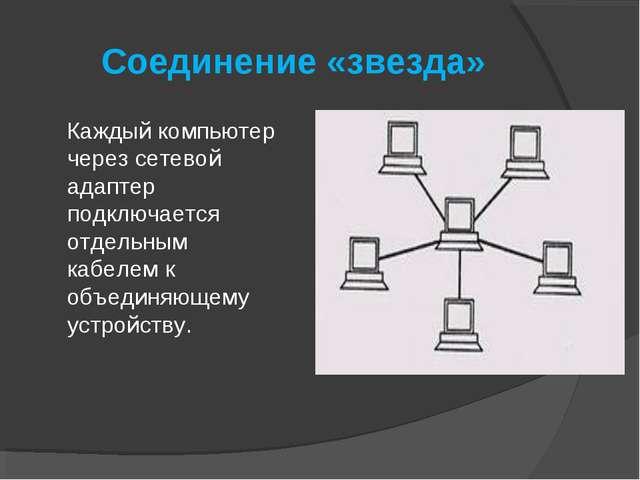 Соединение «звезда» Каждый компьютер через сетевой адаптер подключается отдел...