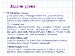Задачи урока: а) образовательные: учить обозначать звуки йу буквами ю,Ю в н