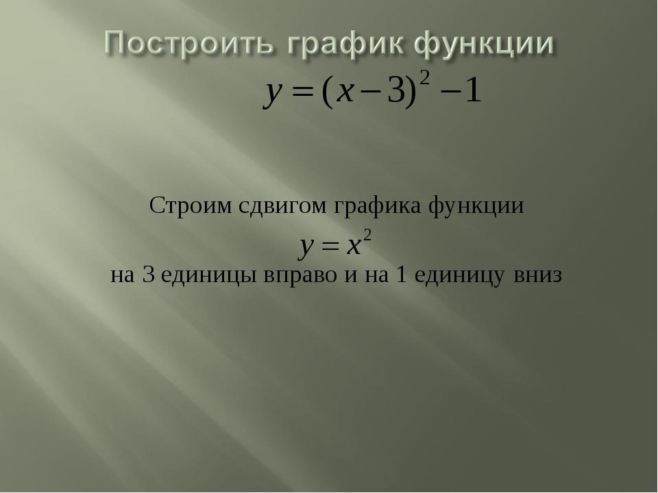 Строим сдвигом графика функции на 3 единицы вправо и на 1 единицу вниз