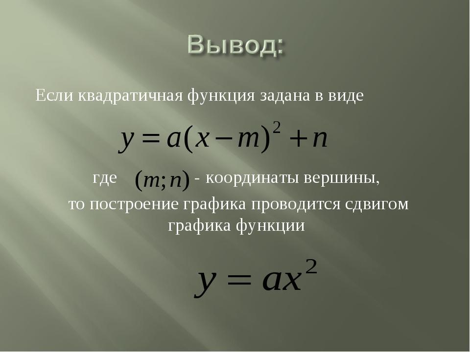 Если квадратичная функция задана в виде где - координаты вершины, то построен...