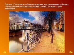 Повсюду в Голландии, а особенно в Амстердаме, много велосипедистов. Везде в г