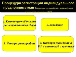 1. Квитанцию об оплате регистрационного сбора 2. Заявление 3. Четыре фотограф