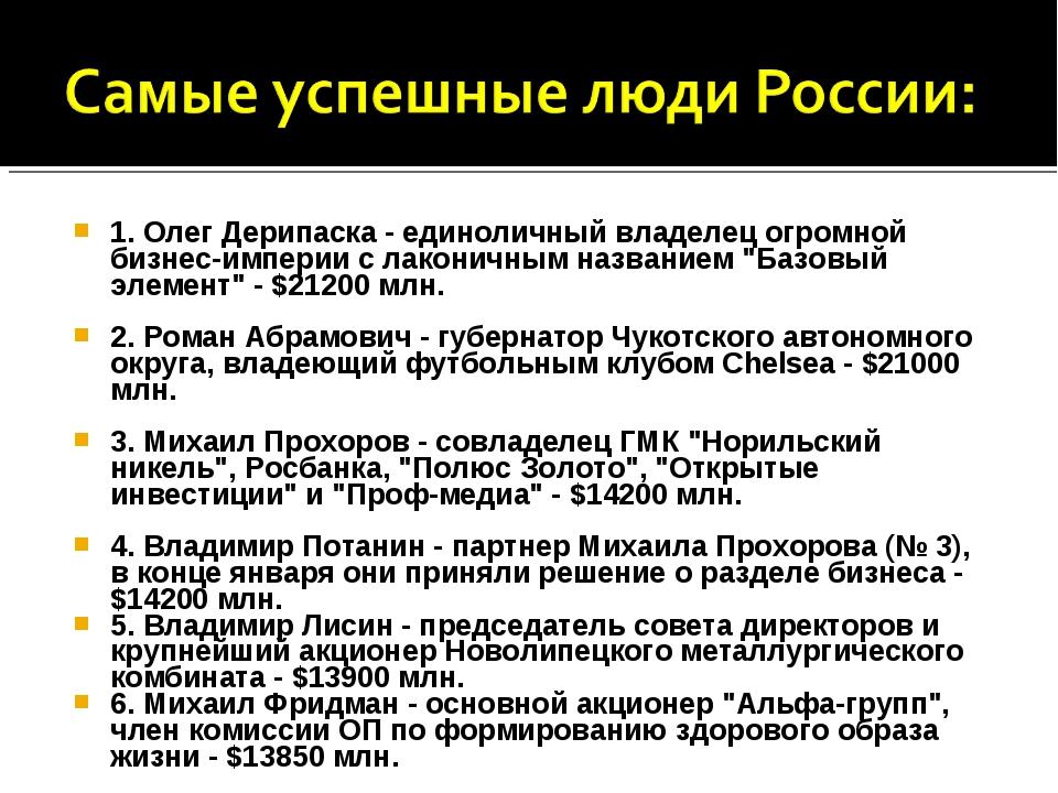 1. Олег Дерипаска - единоличный владелец огромной бизнес-империи с лаконичным...
