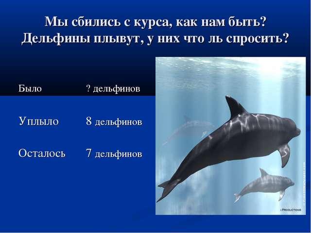 Мы сбились с курса, как нам быть? Дельфины плывут, у них что ль спросить?