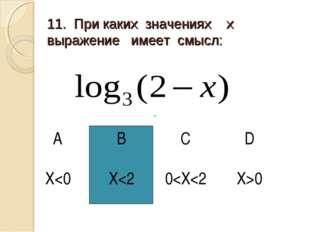 11. При каких значениях х выражение имеет смысл: АBCD X