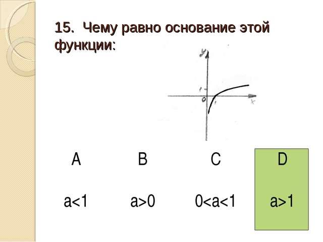 15. Чему равно основание этой функции: АBCD a00