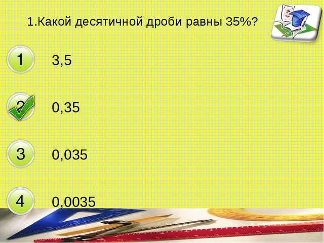 1.Какой десятичной дроби равны 35%? 3,5 0,35 0,035 0,0035 составитель Мяснянк...