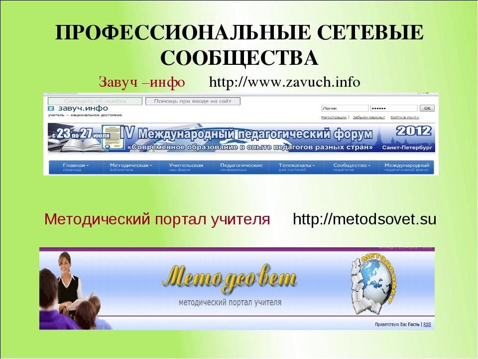 ПРОФЕССИОНАЛЬНЫЕ СЕТЕВЫЕ СООБЩЕСТВА Завуч –инфо http://www.zavuch.info Методи...