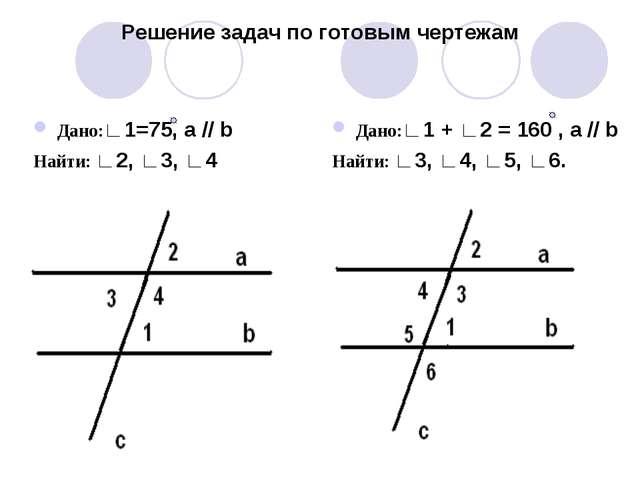 Решение задач по готовым чертежам Дано:∟1=75, а // b Найти: ∟2, ∟3, ∟4 Дано:∟...