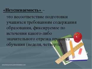 «Неуспеваемость» – это несоответствие подготовки учащихся требованиям содержа