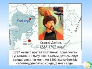 Хиуа Сырым Датұлы 1797 жылы Қаратай сұлтанның өршеленген қуғынынан құтылу үші