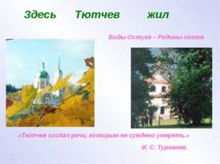 Здесь Тютчев жил Виды Остуга – Родины поэта «Тютчев создал речи, которым не